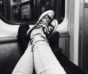 black and white, converse, and couples image
