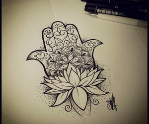 flower, lotus, and hand image