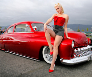hairstyle, red, and old car image
