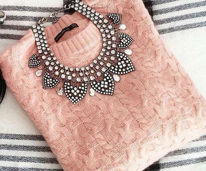 necklace, pink, and outfit image