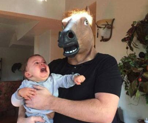 funny, baby, and horse image