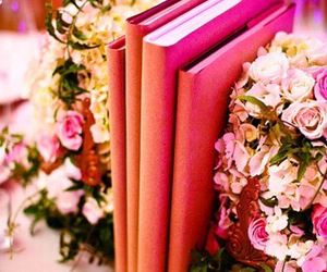 books, candles, and pink image