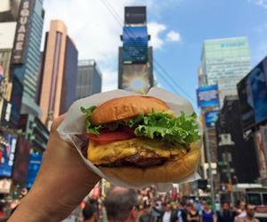 food, burger, and city image