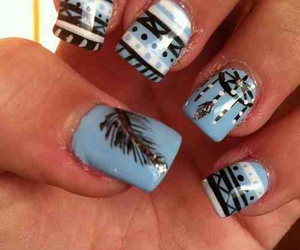 nails, aztec, and blue image