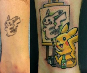 pikachu and pokeman tattoocoverup image