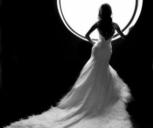 dress, black and white, and wedding image