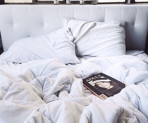 bed, white, and book image