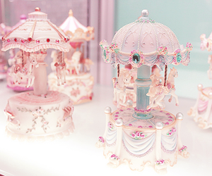 pink, pastel, and carousel image