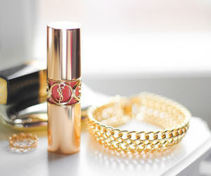 gold, lipstick, and YSL image