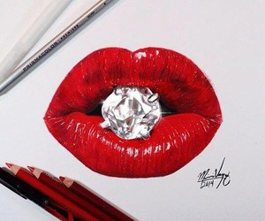 lips, red, and diamond image