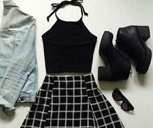 black and white, fashion, and skirt image
