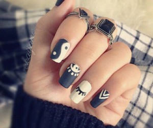 black & white, girl, and nail art image