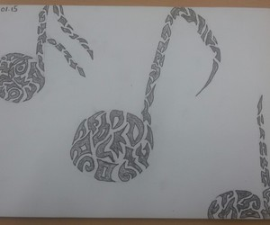 black and white, draw, and music image