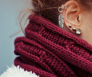 earrings, scarf, and piercing image