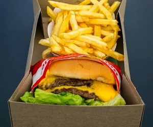 fries, burger, and delicious image