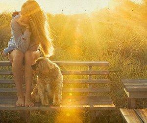 girl, dog, and sun image