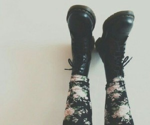 grunge, flowers, and shoes image