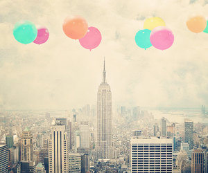 balloons, city, and vintage image