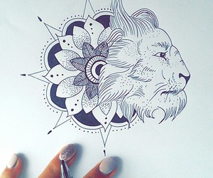 drawing, lion, and tattoo image