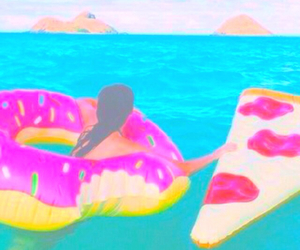 summer, pizza, and donuts image