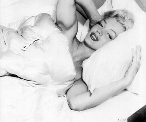 50's, bed, and black and white image