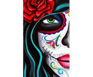 day of the dead, green eyes, and sugar skull image