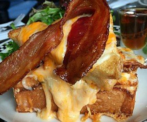 bacon, cheese, and drool image