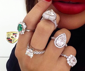 rings, diamond, and red image