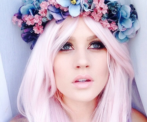 flowers, hair, and flower crown image