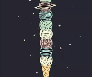 planet, ice cream, and space image