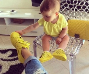 baby, yellow, and adidas image