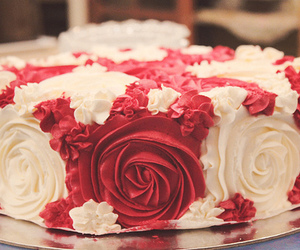 cake, rose, and red image