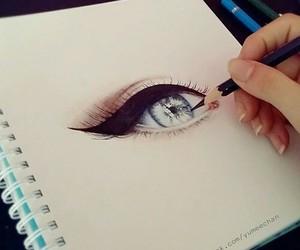 art, eye, and drawing image