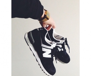 new balance, black and white, and classic image