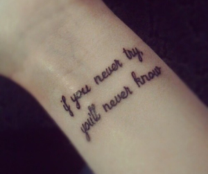 tattoo, quotes, and wrist image