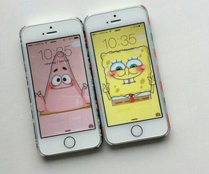 iphone, patrick, and spongebob image