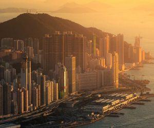 city, hong kong, and sea image