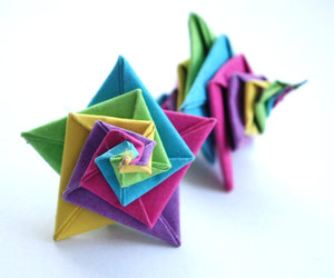 dangle earrings, rainbow earrings, and origami earrings image