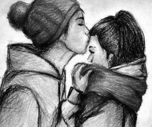 couple, draw, and love image