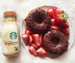 food, donuts, and starbucks image
