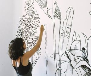art, wall, and plants image