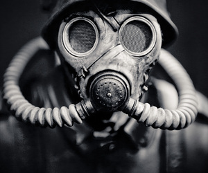 mask, black and white, and war image