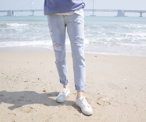 beach, jeans, and korean image