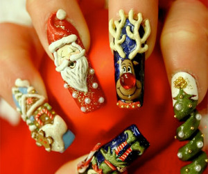 nails, santa, and christmas image