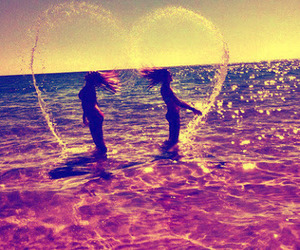 summer, heart, and beach image