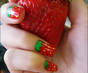 nails, strawberry, and cute image