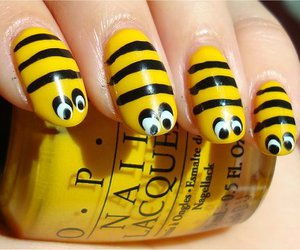 nails, bee, and yellow image