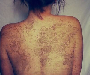 world, map, and tattoo image