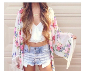 cardigan, floral, and hipster image