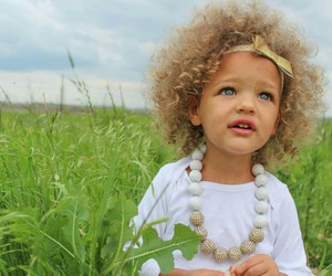 blonde hair, blue eyes, and curls image
